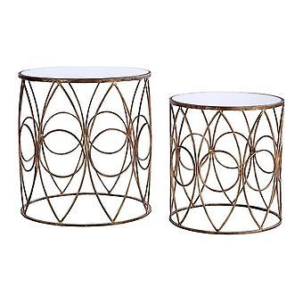 Fusione Nido Vivente Di Specchiato Top Tavoli laterali con cornice d'oro in antiquariato