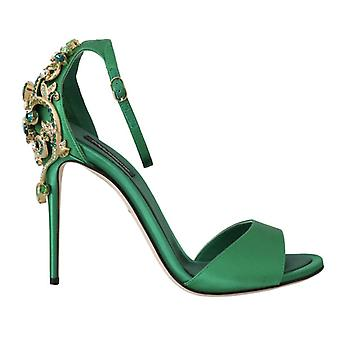 Green Ankle Strap Crystal Stilettos -- LA54876976