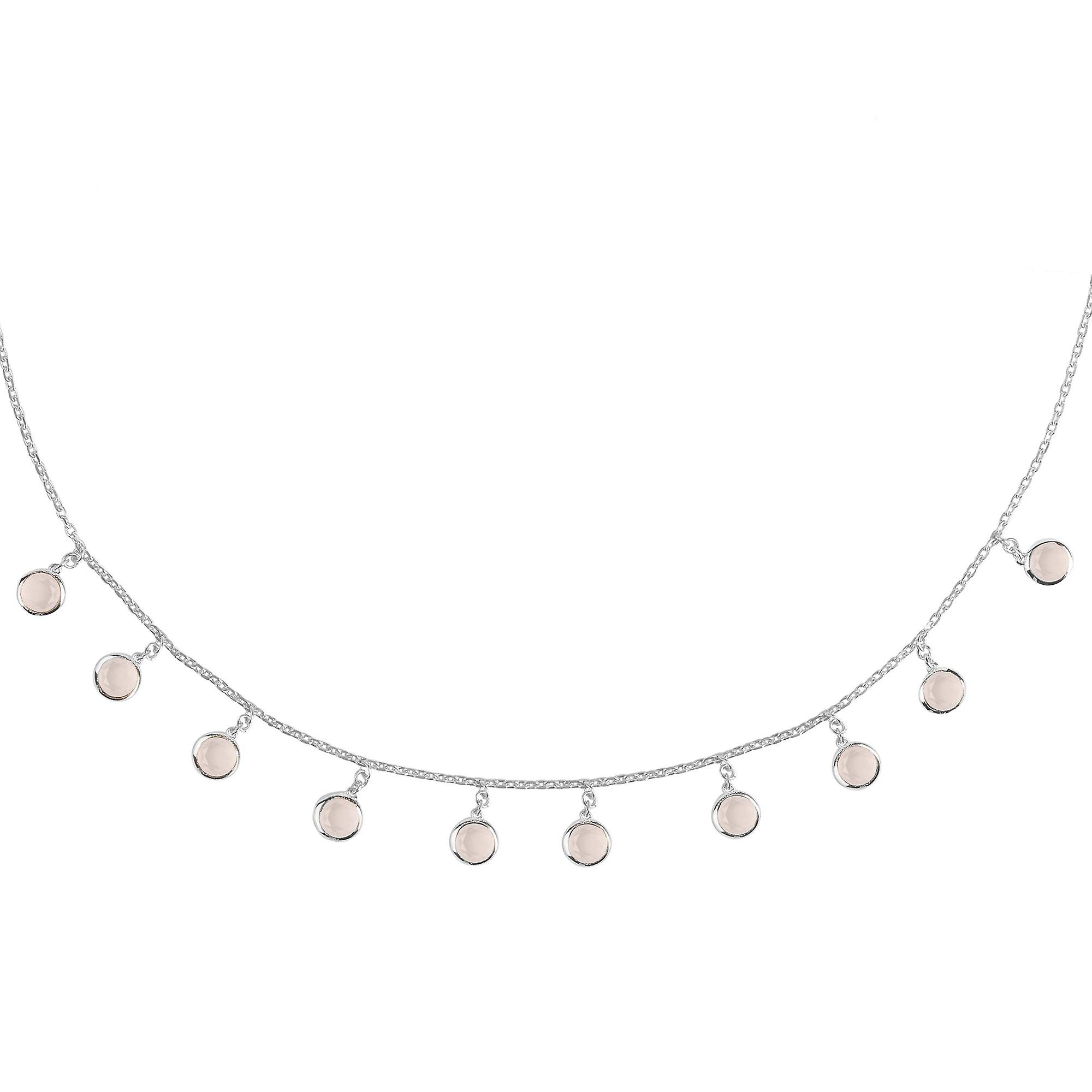 Latelita Gemstone Choker Round Necklace Pink Rose Quartz 925 Sterling Silver