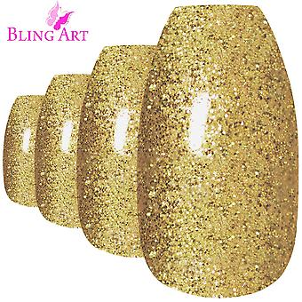 False nails by bling art gold gel ballerina coffin 24 fake long acrylic tips