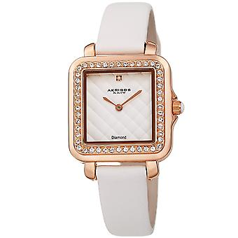 Akribos XXIV AKS191106WT Women's Quartz Square Diamond and Crystals Argyle Leather Strap Watch