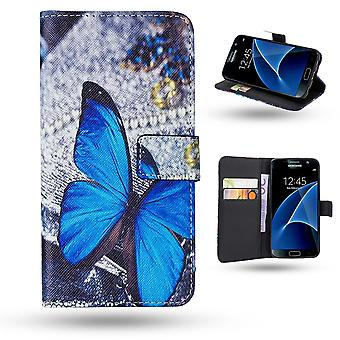 Samsung Galaxy S7 Edge-case/portefeuille cuir-Butterfly