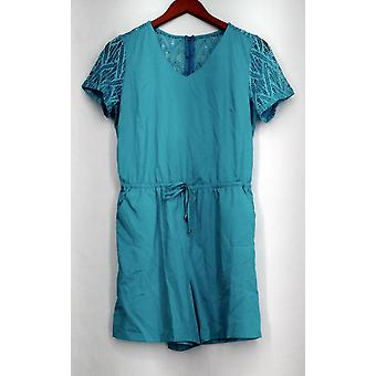 Kate & Mallory Jumpsuits Romper w/ Cut Out Short Sleeve Aqua Blue A426425