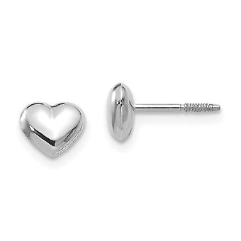 14k White Gold Hollow Polished Screw back Puff Heart Post Earrings - .3 Grams - Measures 5x6mm