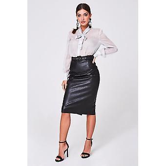 Paper Dolls Selene Black Belted PU Midi Skirt