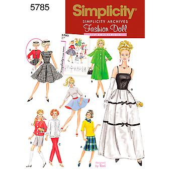 Simplicity 11 1 2 Fashion Doll Clothes One Size U05785os