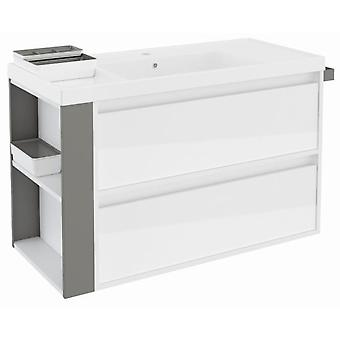Bath+ Cabinet 2 drawers Basin Resin Gloss White Grey 100cm