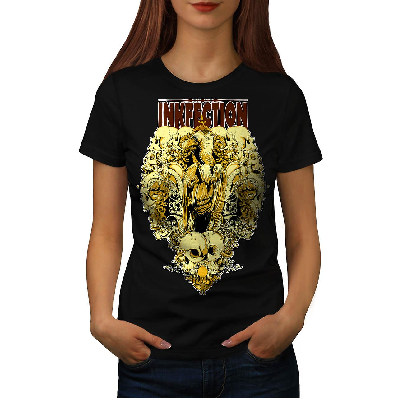 Ink Infection Eagle Skull Curse Women Black T-shirt | Wellcoda