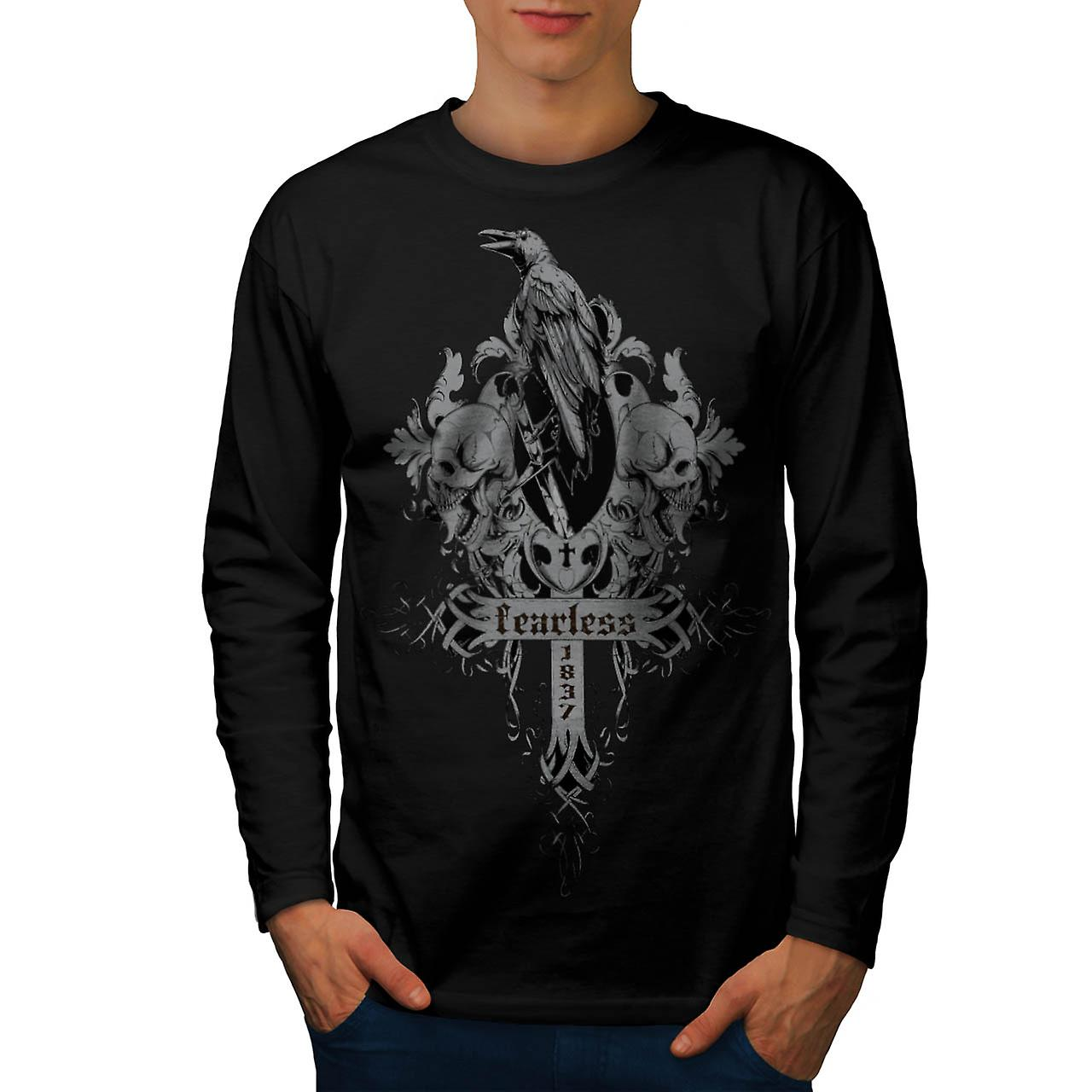 Fearless Death Crow Men Black Long Sleeve T-shirt | Wellcoda