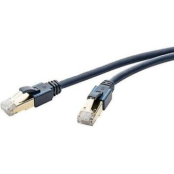 RJ49 Networks Cable CAT 6A S/FTP 1.50 m Dark blue incl. detent, Flame-retardant clicktronic