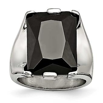 Stainless Steel Black Cubic Zirconia Polished Ring - Ring Size: 6 to 9