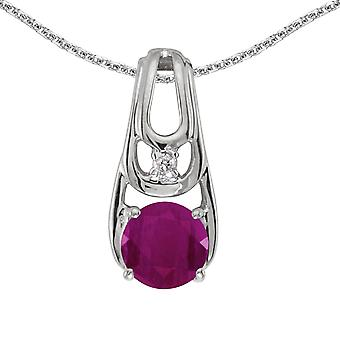 10k White Gold Round Ruby And Diamond Pendant with 16