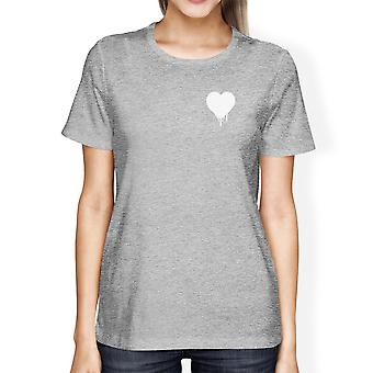 Melting Heart Womens Heather Grey T-shirt Cute Design Gifts For Her