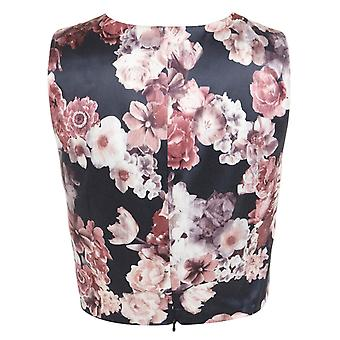 Miss Selfridge Evening Satin Floral V-Neck Cropped Sleeveless Top UK SIZE 10