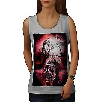 Wild Tiger Jungle Night Hunt Women Grey Tank Top | Wellcoda