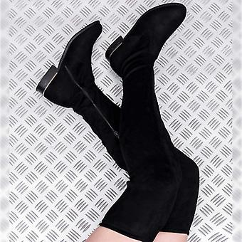 Spylovebuy BARDOT Block Heel Over Knee Tall Boots - Black Suede Style