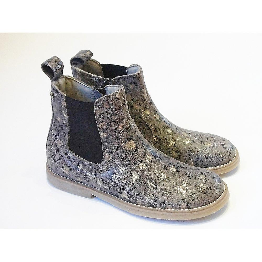 Froddo Girls Chelsea Boot In Soft Gold Print Leather