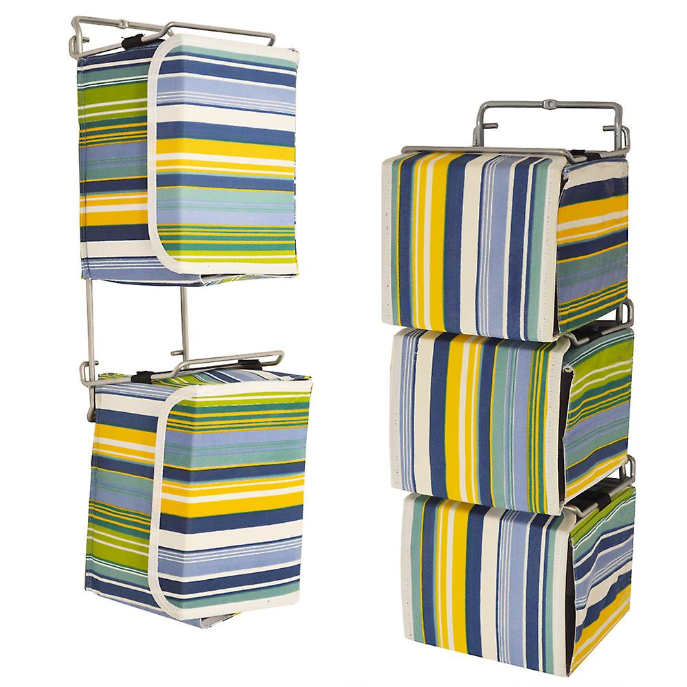 Stripe - Wall Mounted Canvas Storage Boxes - For 33 Cd / 20 Dvd Blu-ray / Toy / Baby Change