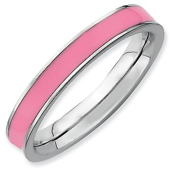 Sterling Silver Polished Rhodium-plated Stackable Expressions Pink Enameled 3.25mm Ring - Ring Size: 5 to 10