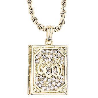 Iced out bling rope cord chain - Allah Quran gold