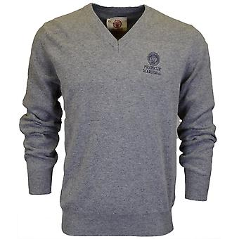 Franklin & Marshall Ca042 Wool V Neck Sport Grey Jumper