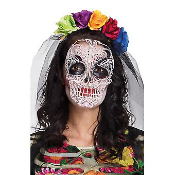 Day of the Dead Flower Headband with Printed Skull on Veil Fancy Dress Accessory