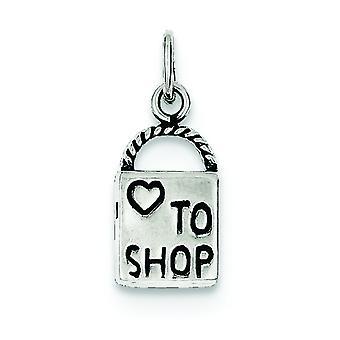 Sterling Zilver solide gepolijst omkeerbare antiek finish liefde aan de charme van de Shop - 1,3 gram