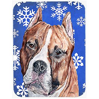 Staffordshire Bull Terrier Staffie Winter Snowflakes Mouse Pad, Hot Pad or Trive