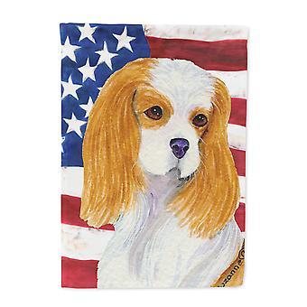 Carolines skatter SS4012-flagg-foreldre USA amerikanske flagget med Cavalier Spaniel