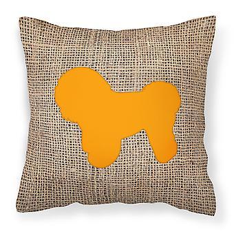 Bichon Frise Burlap and Orange   Canvas Fabric Decorative Pillow BB1107