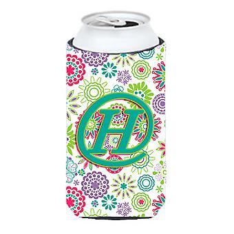 Letter H Flowers Pink Teal Green Initial Tall Boy Beverage Insulator Hugger