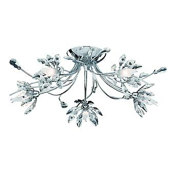 Hibiscus Chrome, Crystal And Glass Five Light Semi-flush Fitting - Searchlight 2885-5cc