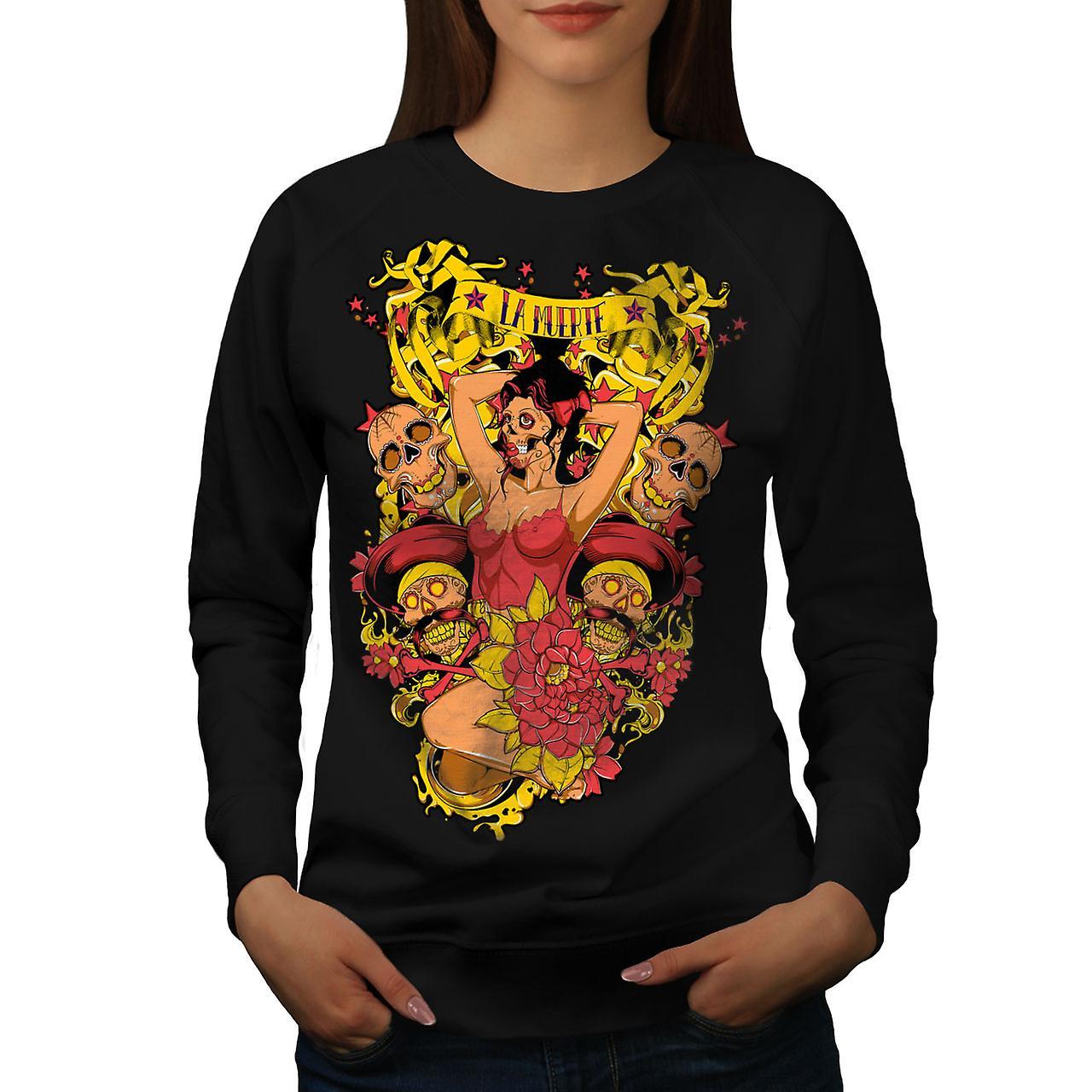 La Muerte Sexy Hot Zombie Women Black Sweatshirt | Wellcoda