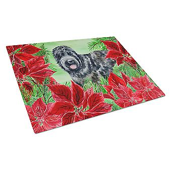 Black Russian Terrier Poinsettas Glass Cutting Board Large