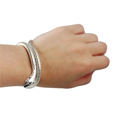 Silver single coil Snake Bracelet set with Ruby eyes