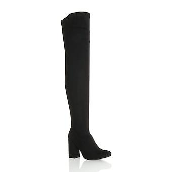 Ajvani womens high flared block heel zip pull on over the knee thigh high boots