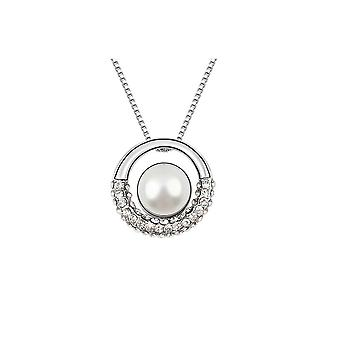 Pearl and Crystal White Circle Pendant