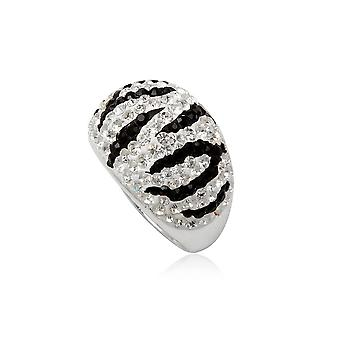 Ring Dome Zebra pure black and white Crystal and Silver 925