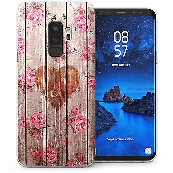 Samsung Galaxy S9 Plus Vintage trä hjärta CaseTPU Gel fall