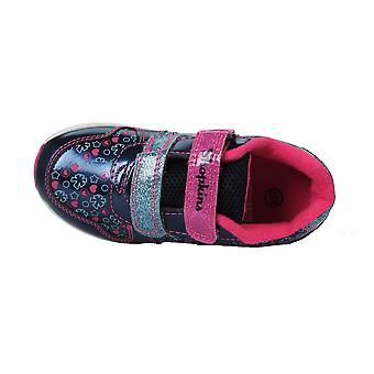 Girls Shopkins Navy & Pink Canvas Trainers Sport Shoes Hook & Loop Various Sizes