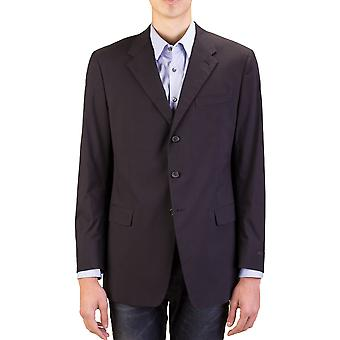 Prada Men's Cotton Three-Button Suit Jacket Sportscoat Black Pinstriped Blue