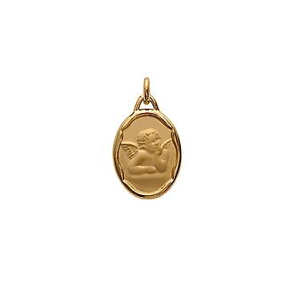 Medal pendant baptism woman - Man - child Angel and yellow gold plated