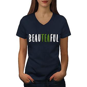 Beateaful Tea Women NavyV-Neck T-shirt | Wellcoda