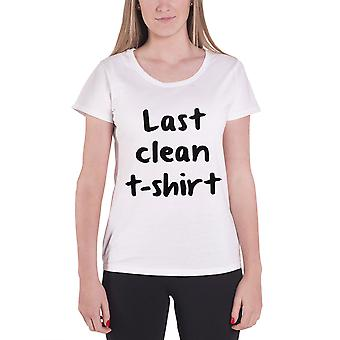 Slogan T Shirt Last Clean T-Shirt Logo Official Womens New White Skinny Fit