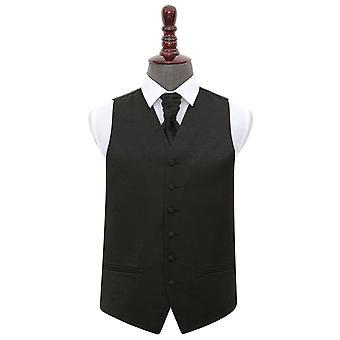 Swirl preto casamento colete & Cravat conjunto