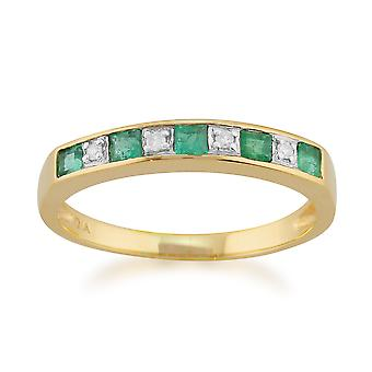 9ct Yellow Gold 0.29ct Natural Emerald & Diamond Half Eternity Ring