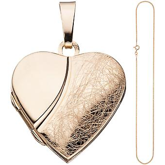Locket heart pendant to open 925 Silver rose gold gold plated necklace 50 cm