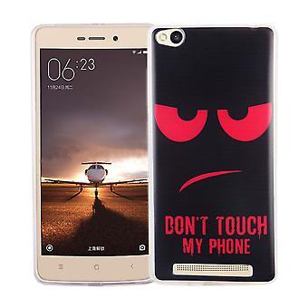 Handy Hülle für Xiaomi Redmi 3 Cover Case Schutz Tasche Motiv Slim Silikon TPU Dont Touch my Phone Rot