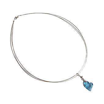 Hart ketting licht blauwe RETO 925 zilver hart ketting element hart tegenhanger van het kristal