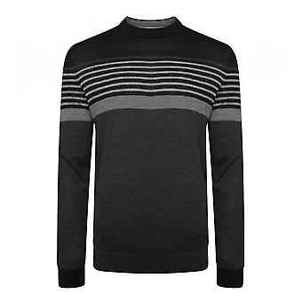 Ted Baker Mens Giantbu Striped Crew Knit Sweater (Black)